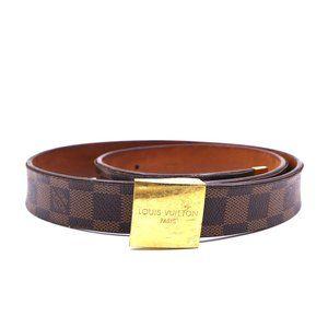 Gold Buckle Leather Logo Size 90 36 Belt